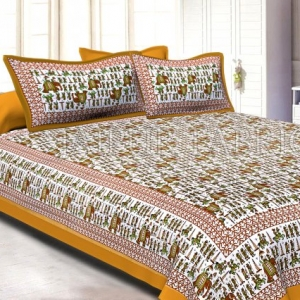 Beige Pastel Color Jaipuri Fat Wedding Print Cotton Double Bed Sheet