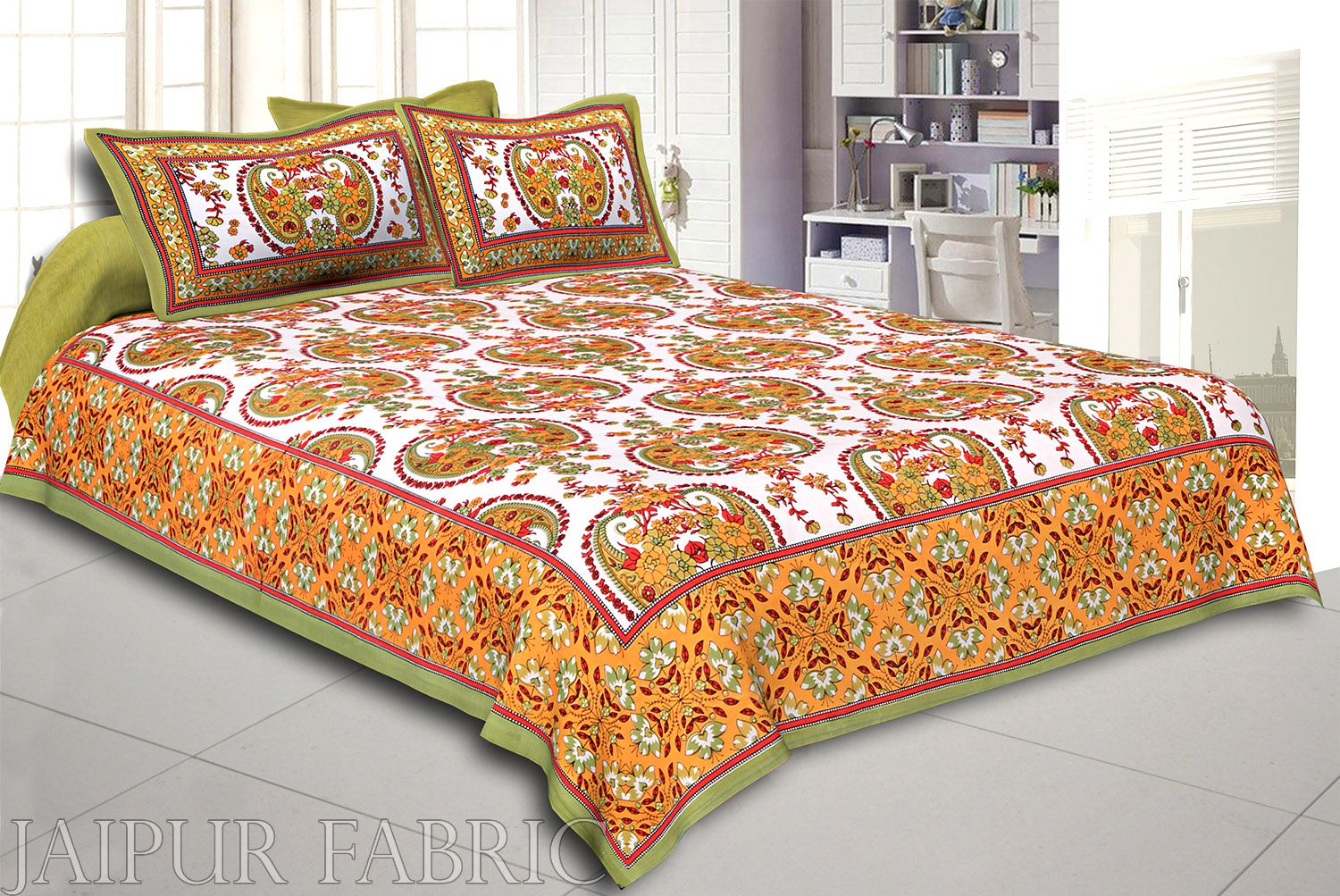 Green Keri and Floral Print Cotton Double Bed Sheet