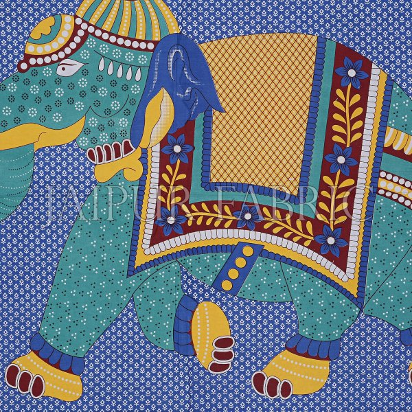Blue Base Elephant and Floral Printed Cotton Double Bed Sheet