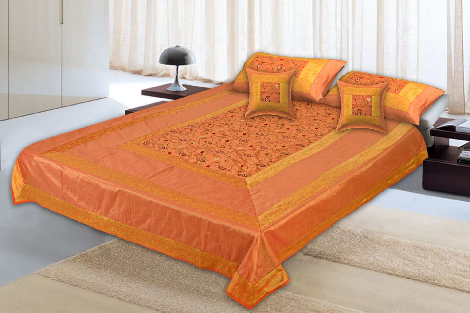 Orangish Yellow  Base With Zari  Border Silk Computer Embroidery  And Silk  Double Bedsheet