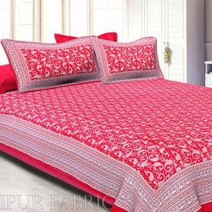 Rose Red Border Base Karry Design Super Fine Cotton Double Bedsheet