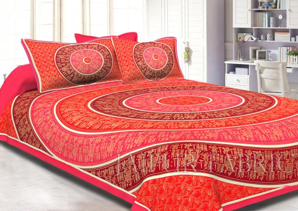 Pink Border Golden Barat In Circle Pattern Super Fine Cotton Double Bedsheet