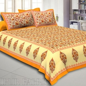 Yellow Border Tropical keri Design Cotton Double Bed Sheet