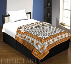 Beige Leaf Print Cotton Handmade Single Bed Jaipuri Quilt