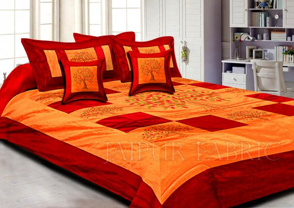 Orange Base Machine Embroidery Maroon Patch Work Silk Double Bed Sheet