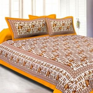 Yellow Pastel Color Jaipuri Fat Wedding Print Cotton Double Bed Sheet