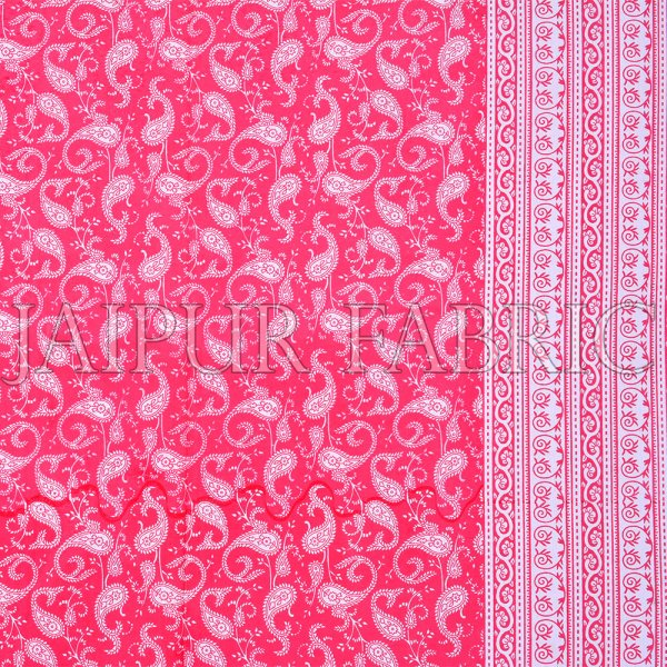 Rose Red Border Base Karry Design Super Fine Cotton Double Bedsheet