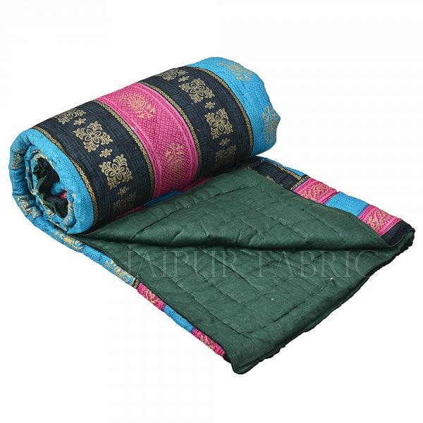 Margenta  Firozi Broad Line  Goldern Print Fine Cotton Double Quilt