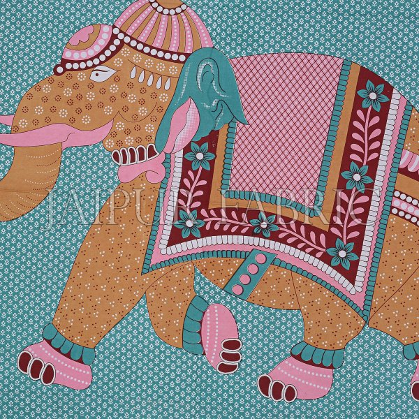 Green Base Elephant and Floral Printed Cotton Double Bed Sheet
