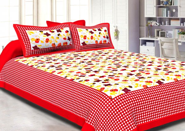 Red Checkered Border Floral Print Cotton Double Bed Sheet