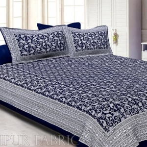 Navy Blue Border Base Karry Design Super Fine Cotton Double Bedsheet