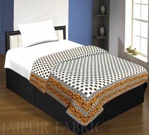 Brown Floral Print Cotton Handmade Single Bed Jaipuri Quilt