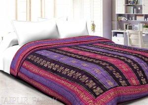 Magenta  Purple Broad Line  Goldern Print Fine Cotton Double Quilt
