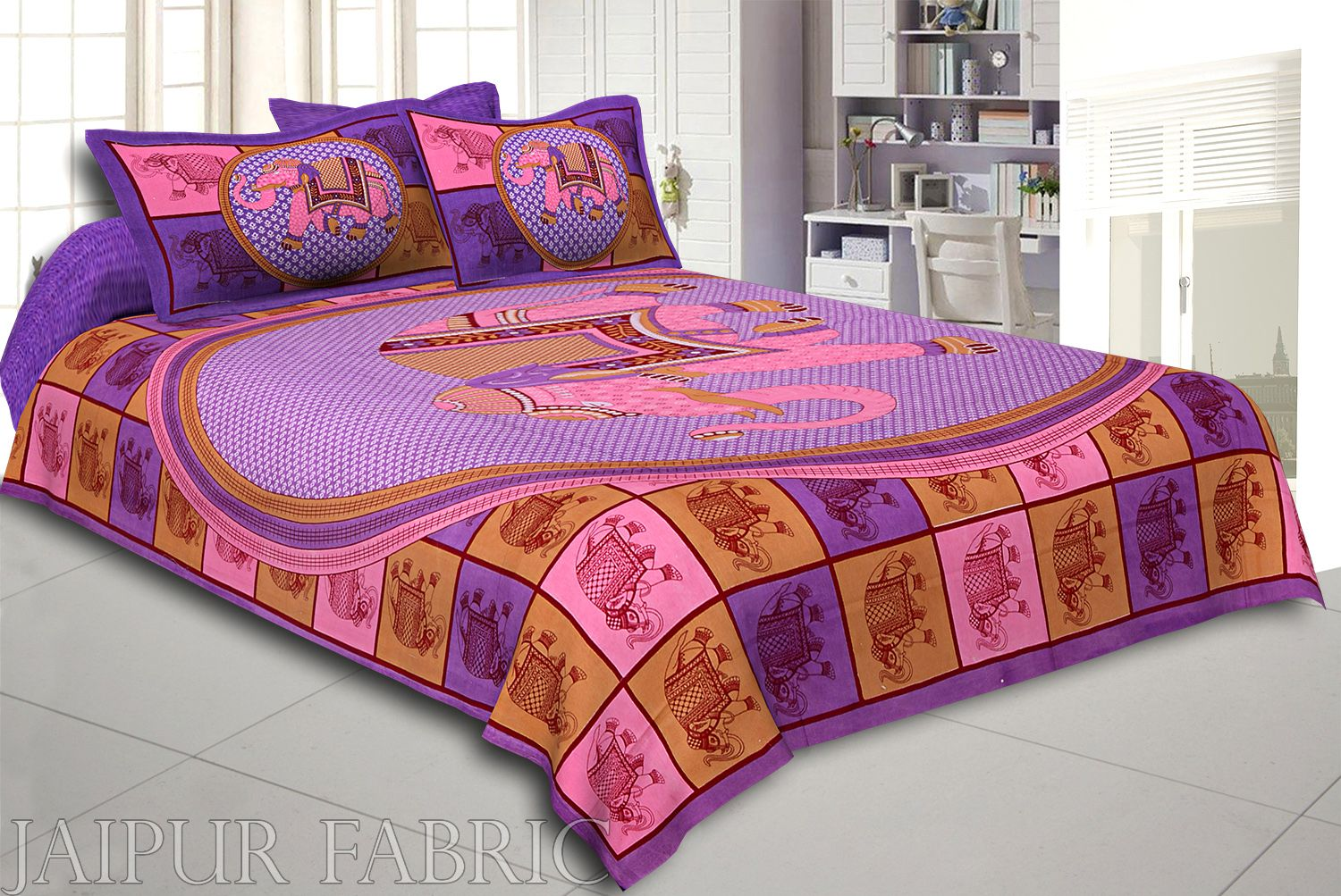 Purple Base Elephant and Floral Printed Cotton Double Bed Sheet