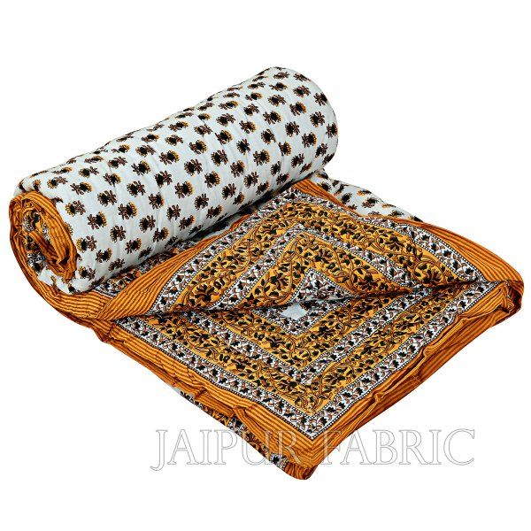 Brown Floral Print Cotton Handmade Single Bed Jaipuri Quilt