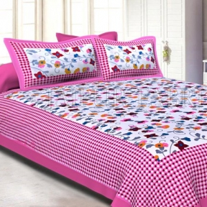 Pink Checkered Border Floral Print Cotton Double Bed Sheet
