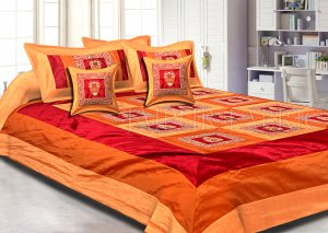 Orange Maroon Base Machine Embroidery and Zari Thread Work Silk Double Bed Sheet