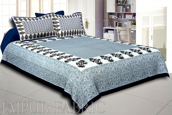 Navy Blue Border Floral Print Cotoon Satin King Size Bedsheet