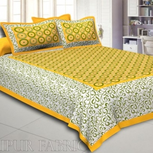 Yellow Border Dotted Circle and Tropical Printed Cotton Double Bed Sheet
