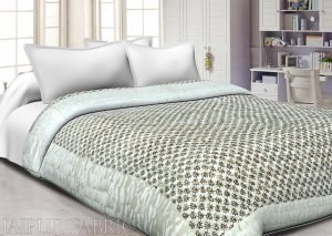 White Border  Goden Leaf Print Satin (Silk) Double Quilt