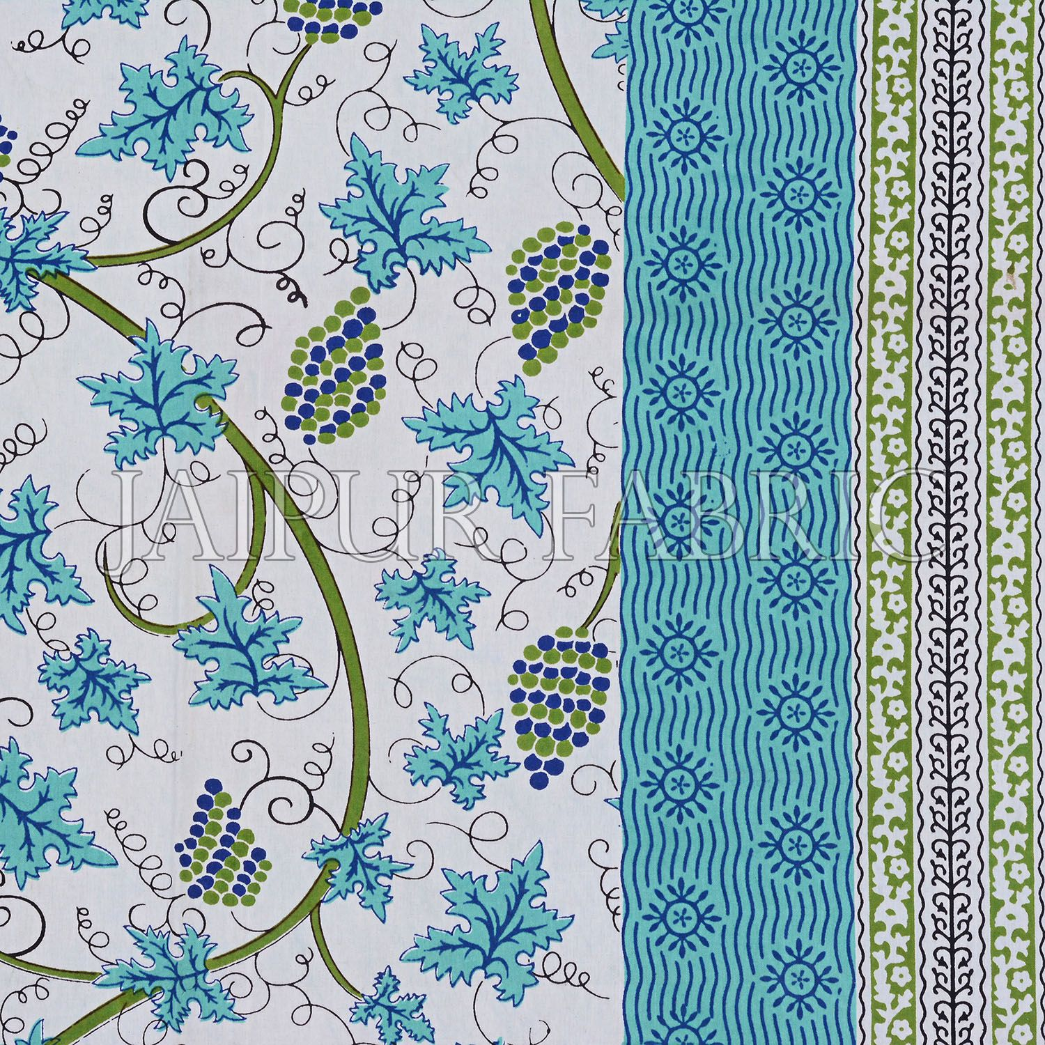 Green Border Grape Designer Cotton Double Bed Sheet