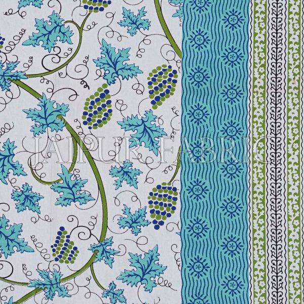 Green Border Grape Designer Cotton Double Bed Sheet