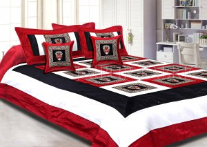 Maroon White Base Machine Embroidery and Zari Thread Work Silk Double Bed Sheet