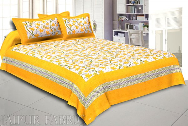 Yellow Border Grape Designer Cotton Double Bed Sheet