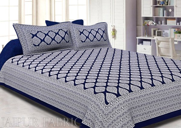 Navy Blue Border White  Base Lahariya Print Super Fine Cotton Double Bedsheet