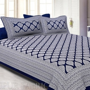 Navy Blue Border White  Base Lahariya Print Super Fine Cotton Double Bedsheet