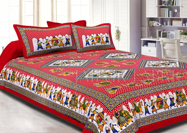 Red base Jaipur doli design with elephant Print Double Bed Sheet and Pillow Covers