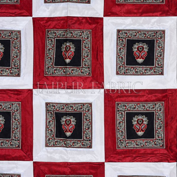 Maroon White Base Machine Embroidery and Zari Thread Work Silk Double Bed Sheet