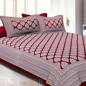 Maroon Border White Base Lahariya Print Super Fine Cotton Double Bedsheet