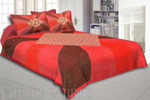 Orange Border Ranbow Pattern  With Golden Print Super Fine Cotton King Size Double Bedsheet
