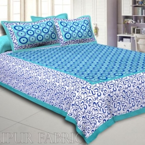 Green Border Dotted Circle and Tropical Printed Cotton Double Bed Sheet
