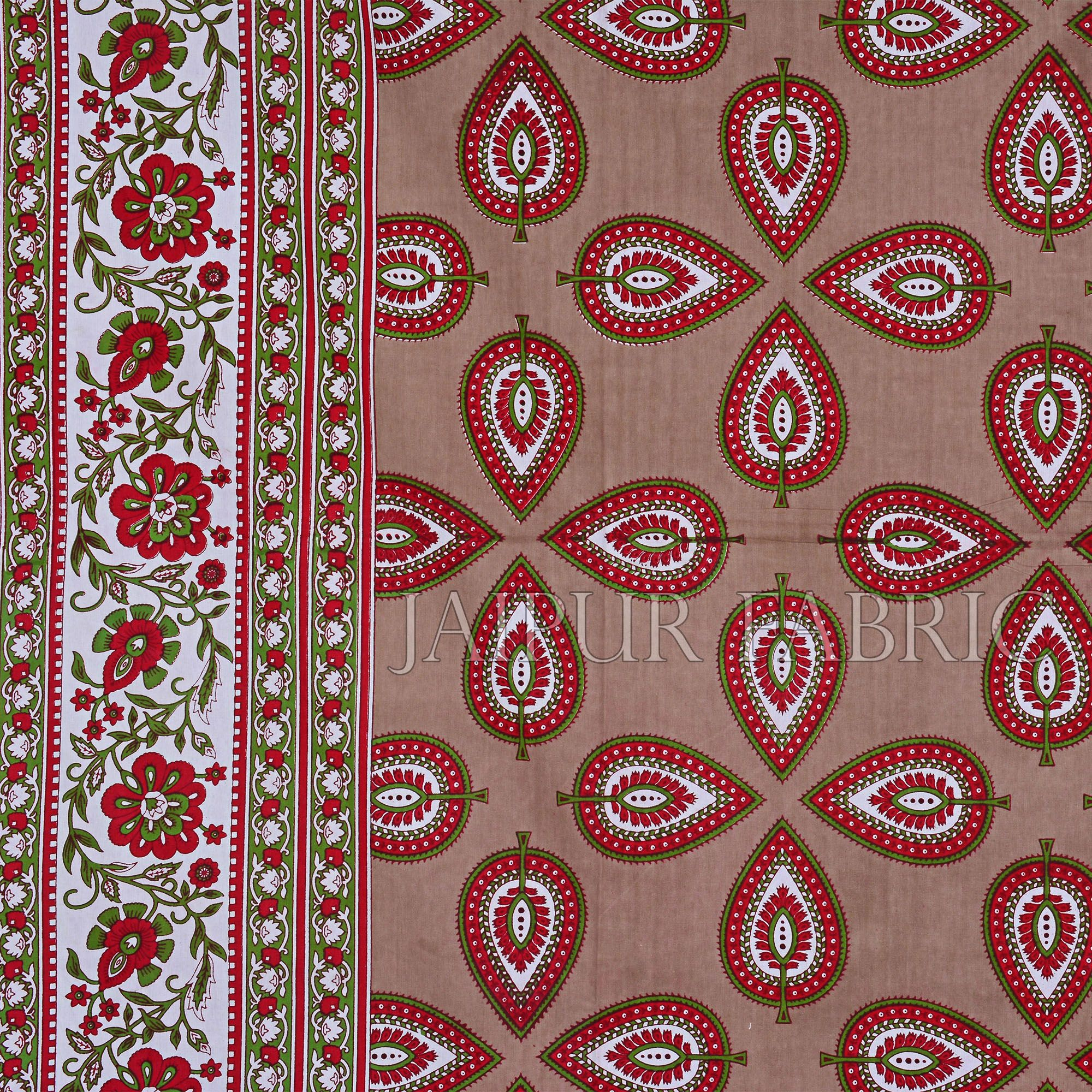 Brown Color Jaipuri Paan Patti Print Double Bed Sheet