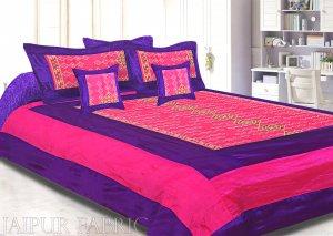 Purple And Rani Border Rajwada Pattern Silk Double Bedsheet