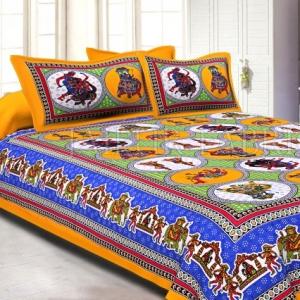 Yellow Border Jaipuri Fat Wedding Print Cotton Double Bed Sheet