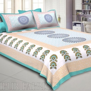 Green Border  Sanganeri Printed Cotton Double Bed Sheet