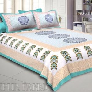 Green Sanganeri Printed Cotton Double Bed Sheet