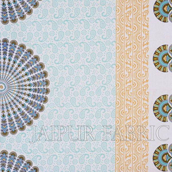 Green Border  Sanganeri Printed Cotton Double Bed Sheet