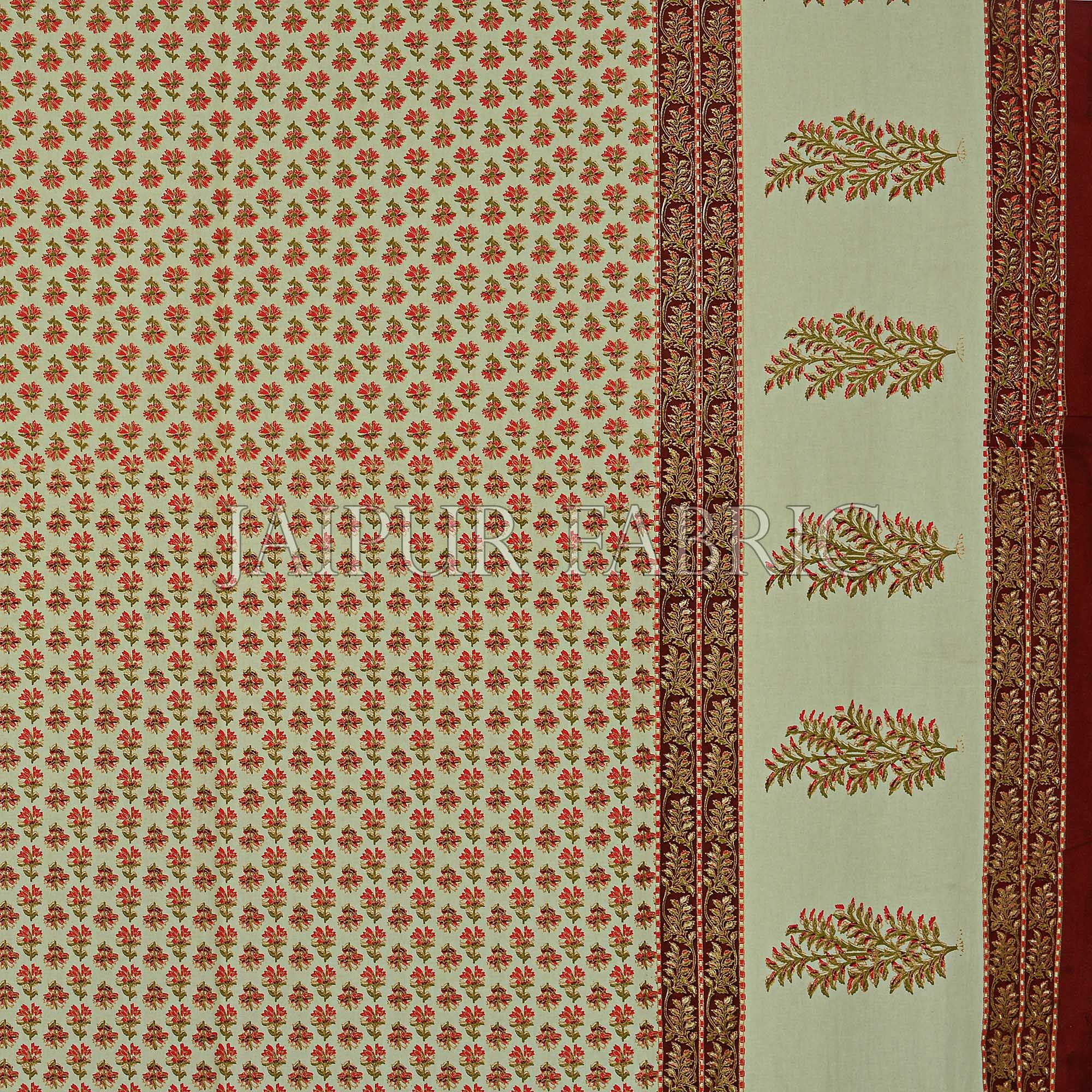 Maroon Border Cream Base Small Tree Pattern With Golden Print Super Fine Cotton Double Bedsheet