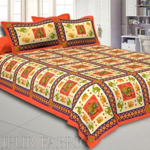 Orange Border Elephant and Camel Rajasthani Folk Dance Cotton Double Bed Sheet