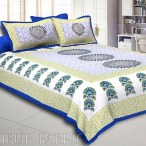Blue Border Sanganeri Printed Cotton Double Bed Sheet