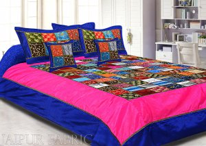 Navy Blue And Rani Border Mix Tukdi Silk And Zari Embroidery Silk Double Bedsheet