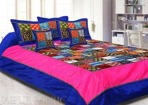 Navy Blue And Rani Border Mix Tukdi Silk And Zari Embroidery Silk Double Bedsheet