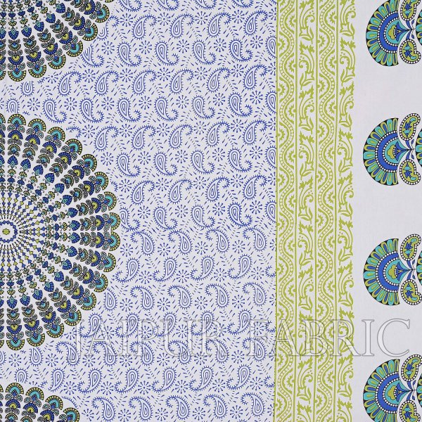 Blue Sanganeri Printed Cotton Double Bed Sheet