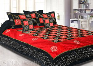 Red And Black Chess Gold Patten  With Golden Print Silk Double Bedsheet