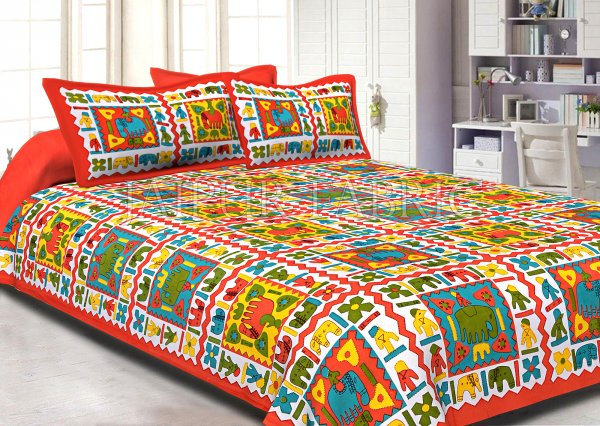 Orange Border Multi Color Cotton Double Bed Sheet