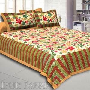Multi Color Floral Vertical Stripes Beige Border Cotton Double Bed Sheet